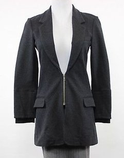Elizabeth and James Black Basic Long Sleeve Rayon Coat Charcoal Jacket