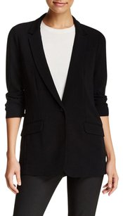 Elizabeth and James Elizabeth And James Relaxed Jamie Black Crepe Ruched Cuff Blazer Jacket 0xs
