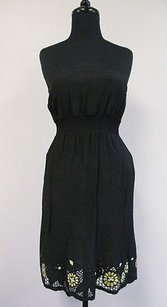 Ella Moss short dress Black Solid Strapless Pleated Tube Top W Floral Hems R712 on Tradesy