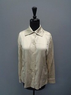 Ellen Tracy Linda Allard Button Up Silk Sm1136 Top Taupe