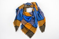 Emanuel Ungaro Emanuel Ungaro Blue Orange Olive Check Raw Edge Square Scarf