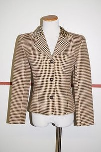 Emanuel Ungaro Emanuel Ungaro Brown Tan Wool Long Sleeve Button Front Blazer 22048