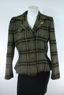 Emanuel Ungaro Emanuel Ungaro Paris Cropped Green Plaid Wool Blazer Jacket