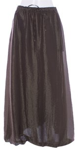 Emanuel Ungaro Solid Full Length Pleated Around Maxi Skirt Olive
