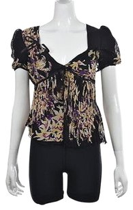 Emanuel Ungaro Womens Black Floral Short Sleeve Silk Shirt Top Multi-Color