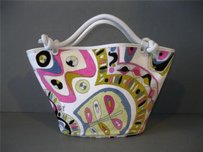 Emilio Pucci White Multicolor Tote in Multi-Color