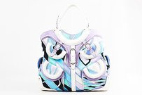 Emilio Pucci White Lavender Teal Canvas Leather Trim Printed Pockets Handbag Tote in Purple