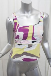 Emilio Pucci Womens Cotton Knit Abstract Sleeveless 406 Top Multi-Color
