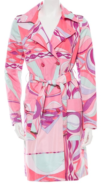 Emilio Pucci Green Multicolor Print Longsleeve 6 42 Small Medium M S New Belted Trench Coat