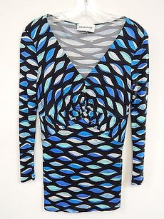 Emilio Pucci Multi Mod Print Stretch Top Multi-Color