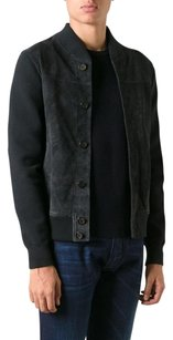 Emporio Armani Leather Suede Bomber Perforated Soft Navy Leather Jacket