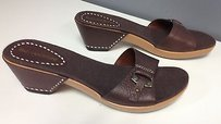 Enzo Angiolini Leather Brown Sandals