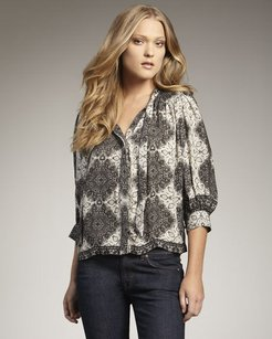 Equipment Joie Gray Hartford Printed Top Multi-Color