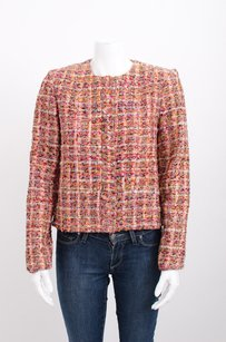 ERDEM Red Pink Tweed Boucle Cotton Silk Button Long Sleeve Multi-Color Jacket