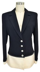 Escada Cream Wool Color Block Navy Jacket