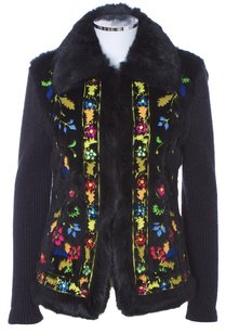 Escada Cashmere Wool Rabbit Fur Embroidered Floral Knit Silk German Fur Trimed Cardigan