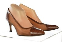 Escada Womens Brown 8b Classic Heels Leather Textured Multi-Color Pumps