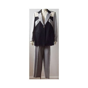 Escada Escada Black White Wool Blend Color Block Hounds Tooth 2pc Pant Suit