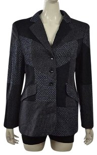 Escada Escada Womens Blue Blazer Wool Long Sleeve Tweed Career Jacket Wtw