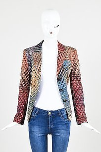 Escada Escada Blue Red Multicolor Jersey Kaleidoscope Pattern Ls Blazer