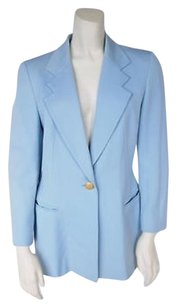 Escada Escada Blue Wool Career Tailored Fitted Blazer Jacket Coat Hs868