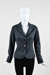 Escada Escada Gray Wool Three Button Long Sleeve Tailored Blazer Jacket