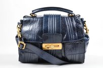 Escada Navy Snakeskin Shoulder Bag