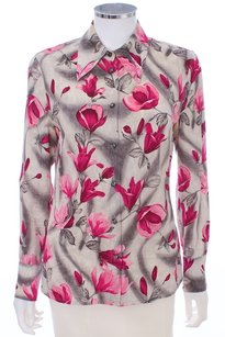 Escada Silk Floral Button Down Shirt GRAY AND PINKS