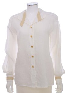 Escada White Cotton Blouse Neiman Marcus Gold Button Down Shirt Ivory