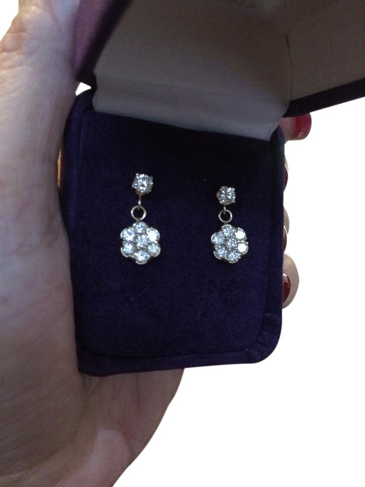 Especially designed and made  1 and 1/2 carat yellow gold diamond earrings.