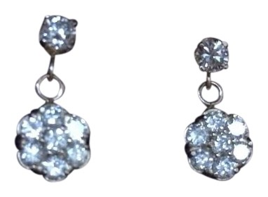 Especially designed and made one and 1/2 carat yellow gold diamond earrings