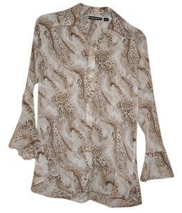 Essentials by Milano 100% Polyester Top Brown Pattern