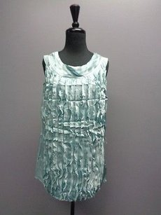Etcetera Sleeveless Round Neck Ruffled Silk Sma324 Top Blue