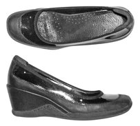 Etienne Aigner Mid-heel Leather Black patent Wedges
