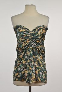 Étoile Isabel Marant Womens Printed 0 Strapless Shirt Casual Top Green