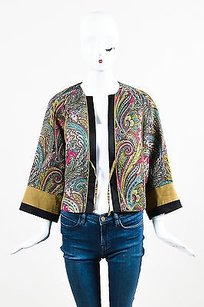 Etro Teal Pink Yellow Paisley Multi-Color Jacket
