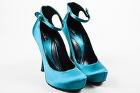 Etro Teal Satin Ankle Strap Blue Pumps