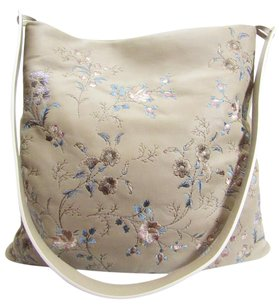 Etro Cross Body Taupe Leather Floral Embroidered Lambskin Shoulder Bag