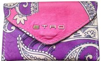 Etro ETRO Pink, White, Purple Trademark Paisley Print Leather Card Holder