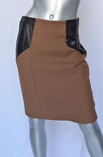 Etro Brown Lambskin Leather Skirt Browns