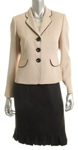 Evan Picone Evan Picone NEW Montpellier Tan Contrast Trim Lined Jacket Skirt Suit
