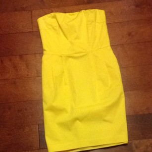Express short dress Yellow Strapless Cocktail on Tradesy