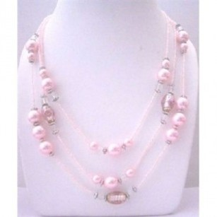 Multi Pink Beaded 3 Strands Necklace Pink Pearls Millefiori Painted