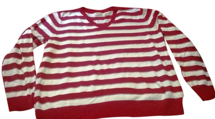 Faded Glory Red White Striped Red White Sweater Tradesy