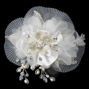 Freshwater Pearl Swarovski Crystal Beaded Diamond White Sheer Organza Fabric Flower Hair Clip