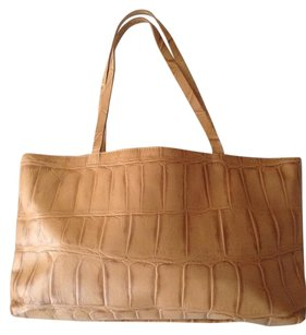 Falor Embossed Leather Lined Tote in Natural/Neutral