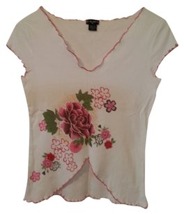 Fang Blouse T Shirt White with Green, Red, Pink, & Yellow Floral Design