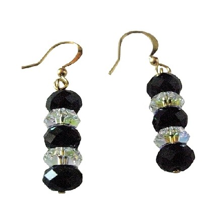 Fashion Jewelry For Everyone Briollet 5040 Jet & Ab Crystals 22k Gold Plate Hook Earring