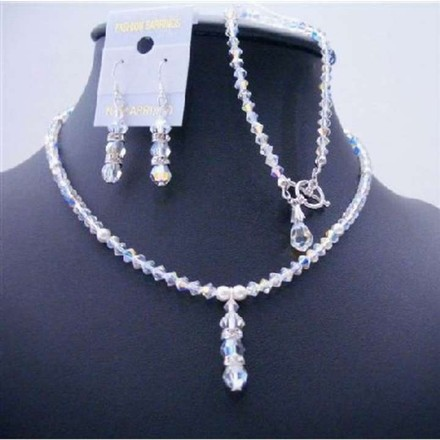 Clear Ab Crystals White Pearls Drop Down Complete Sleek Party Jewelry Set
