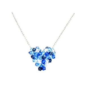 Adorable Inexpensive Swarovski Sapphire Ab Crystals Puffy Heart Necklace